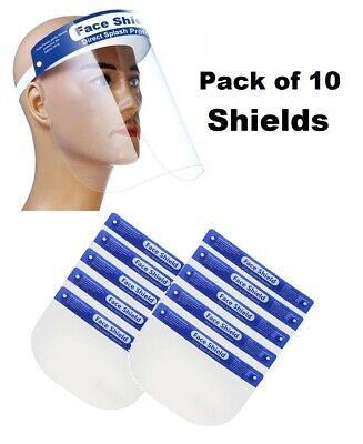Full Face Shield Anti-Splash Reusable Washable Protection Cover - Pack of 10