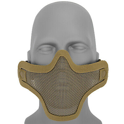 Lancer Tactical Metal Mesh Half Face Protective Airsoft Paintball Mask - Tan