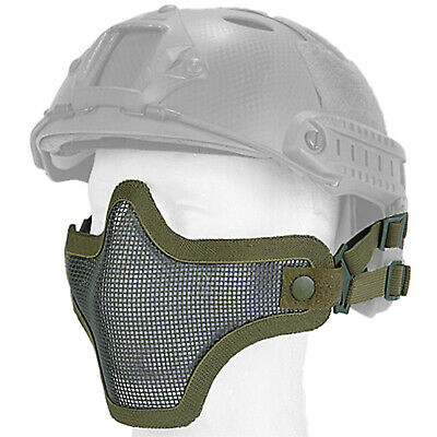 Lancer Tactical Helmet Mesh Half Face Protective Airsoft Paintball Mask - Green