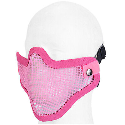 Lancer Tactical Metal Mesh Half Face Protective Airsoft Paintball Mask - Pink