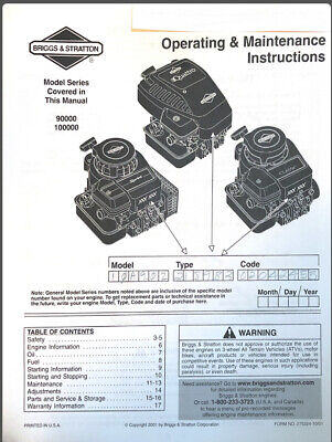 Briggs & Stratton Operating And Maintenance Instructions Models 90000-100000