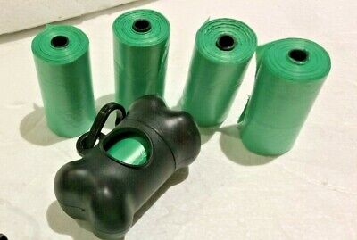 """100 (5 rolls) Large strong dog poo bags, with """"bone"""" dispenser with belt clip"""