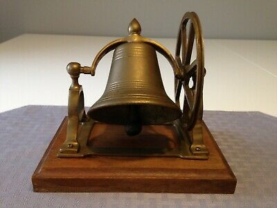 Vintage Maritime Ships Desk Brass Bell Pulley Wheel Wood Base Nautical