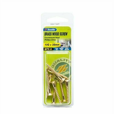 Zenith 10G x 40mm Solid Brass Countersunk Head Wood Screws - 8 Pack - EAC4640