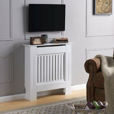 Radiator Cover Wall Cabinet MDF Wood Furniture Vertical Grill White Grey Modern
