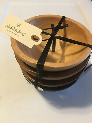 Hearth /& Hand with Magnolia Set of 4 Solid Wood Bowls