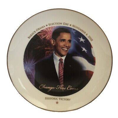 Barack Obama Illinois Gold Trimmed Porcelain Plate with Display Stand
