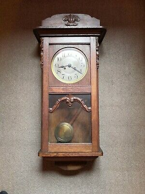Antique Chiming Wall Clock Wood Glass Metal Face With Pendulum And Key