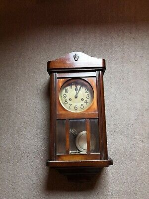 Antique Chiming Wall Clock Wood Glass Metal Face With Pendulum
