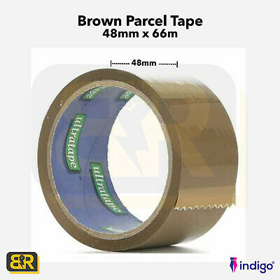 BROWN LONG LENGTH PACKING TAPE STRONG REMOVAL CARTON - 48mm x 66M PARCEL TAPE