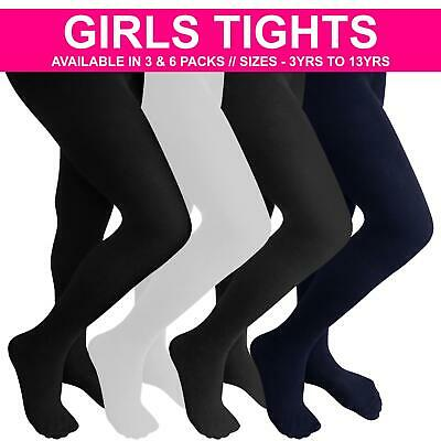 Childrens Girls Tights Kids Back To School Tights Super Soft Black Ages 6-14