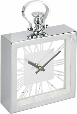 New Chrome Silver Metal Mantel Clock Shelf/Table Top/Side Table With Sleek look