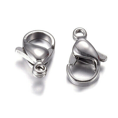 Stainless Steel Big Lobster Clasps Silver Tone 19x12mm