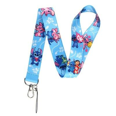 LILO & STITCH (& ANGEL!) Neck Lanyard ~Blue Pink~ Disney Clip ID Keys Badge Pins