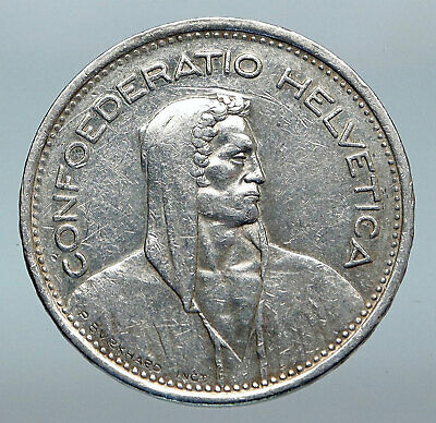 1948 Switzerland Founding HERO WILLIAM TELL 5 Francs Silver Swiss Coin i85260