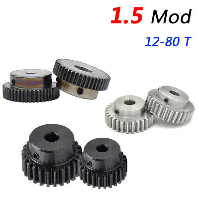 1.5 Mod Spur Gear with Step, 12 to 80 Teeth, Bore 5-25 mm Pinion Gear Motor Gear