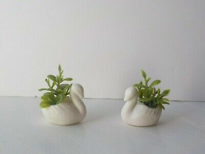 Dollhouse Miniature Fairy Garden Pair of Urn Planters Moss Aged Tan 1:12 scale