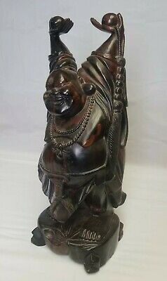 Antique Chinese/Japanese Hand Carved Solid Wood Standing Smiling/Laugh Buddha