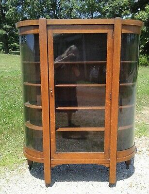 Antique Tiger Oak Mission Arts and Crafts Style China Cabinet Tiger Oak 1920s