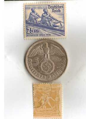 #-1-)-*Greece-1896-Olympic+1936-*German Olympic stamps and SILVER(.900%) coin