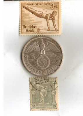 #-3-)-*Greece-1896-Olympic+1936-*German Olympic stamps and SILVER(.900%) coin