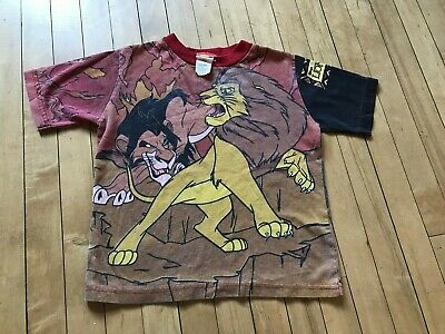 Vintage 90's Lion King Movie T-Shirt All Over Print Youth Large Disney