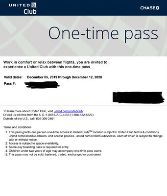 United Airlines Club One-Time Pass Quick Email Delivery Expires12/12/2020 orlate