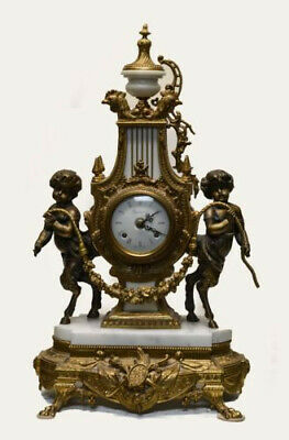 Ornate Antique Brass & Marble Imperial Clock and matching candelabra set