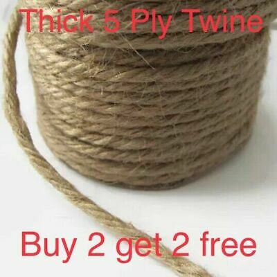 Thick 5 Ply Jute Twine - Brown Hessian Natural Garden Craft String