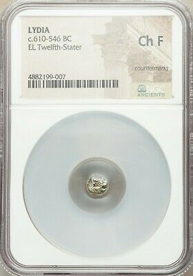 WORLD'S OLDEST COINS! NGC CH F LYDIA Alyattes Croesus 610-546 BC EL 1/12 stater