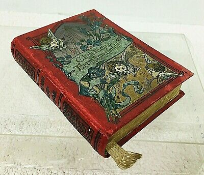"""1907 Antique German Tiny Book Christmas w Angels and Floral Cover 3 5/8 x 2 3/4"""""""