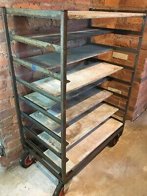 Production Trolley Pottery Potters Ware Board Vintage Shop Display Shelving