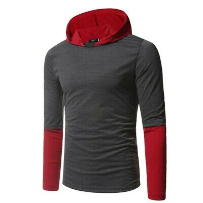 Men/'s Hooded Long sleeve Hoodies Splice Tops Slim Fit Occident Pullover Casual B