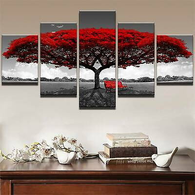Large Red Tree Modern Canvas Oil Painting Wall Art Home Room Picture Print Decor
