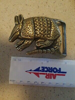 Armadillo Solid Brass Belt Buckle