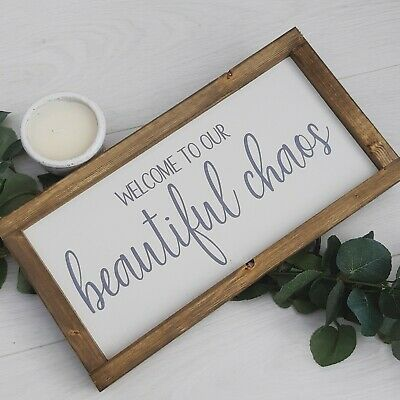Welcome to Our Beautiful Chaos Wood Print Sign
