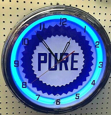 "16"" PURE Gasoline Motor Oil Gas Station Sign Neon Clock"