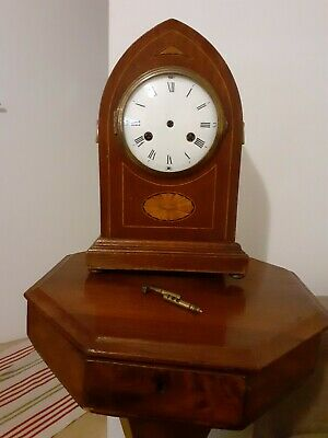 Edwardian Arched Inlaid Bracket Mantle Clock Case.  With Dual Key.