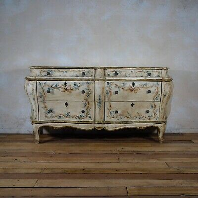 Antique 19thc Italian Venetian Painted Bombe Sideboard Commode Chest Of Drawers