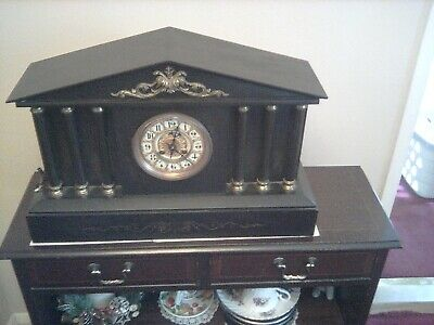 Antique Victorian Slate Chiming Mantle Clock French movment 1880s