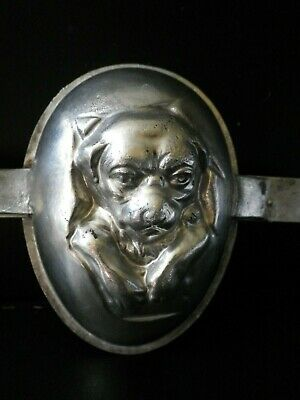 Vintage metal chocolate mold ,half egg mould with dog breaking through.