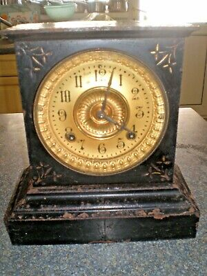 Antique Ansonia Black metal mantle Clock USA - for restoration or parts