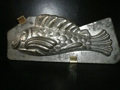 Vintage metal chocolate mold , 2 sided early Matfer fish mold/ mould.