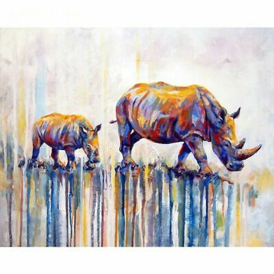 Rhino Family Colourful Abstract Animal Beautiful FUN Paint By Numbers Canvas Art