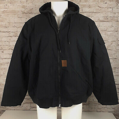 Stanley Sherpa Lined Jacket Hooded Mens XL Cotton Duck Black