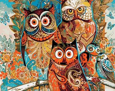 Elegant Owl Family Bright Abstract Pattern Cartoon Paint By Numbers Canvas Art