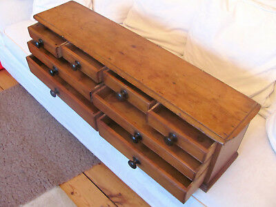 antique 19th C. Victorian CHEST, BANK or RUN OF 8 PINE DRAWERS