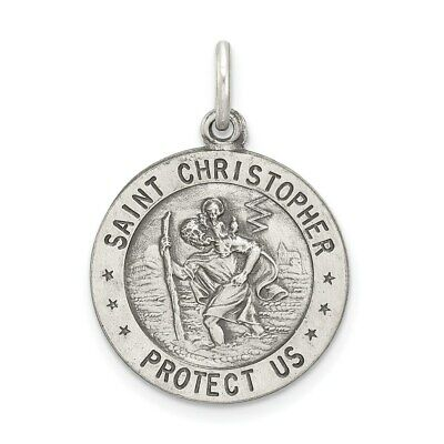 """Sterling Silver Saint Christopher Medal 1//2 /"""" Round Made in Italy 18/"""" Box Chain"""
