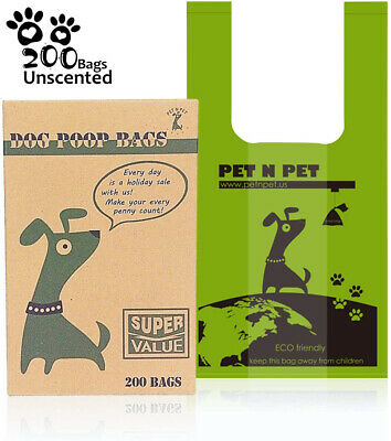 "PET N PET Dog Poo Bags 200 Extra Thick and Strong Biodegradable Poop Bags 8""*10"""