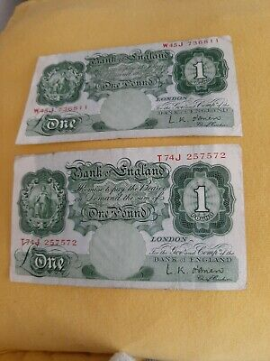Two Old Green One Pound Notes O'Brien